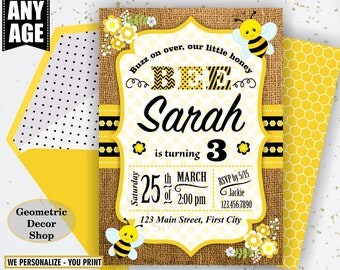 Bumble Bee Birthday Invitation Party Invite Burlap Rustic Digital Printable Black Yellow Girl Flowers photo photograph honey farm BDBee7