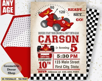 Race car birthday invitation - race car party invite - 1st birthday invitation - vintage - race car - first birthday - Photo - Photograph -6
