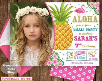 Flamingo Pineapple Birthday Invitation Any age Gold Glitter invite Invitations Printable Luau Hawaiian Party photo photograph BDP13/10