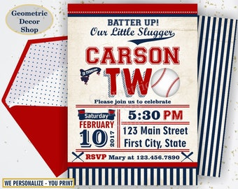 Second Birthday invitation Vintage Baseball Sports Invite 2nd All star invitations One Ball red blue invites photo photograph ticket BDSP17