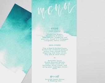 Teal Menu . Brushed . Printable Menu, Printable Wedding Reception, Party Menu, DIY Printable, Print at Home Menu