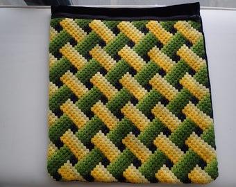 Midcentury Handmade Needlepoint Basket Wived Pattern  Pillow Case  with Black Velvet Backing