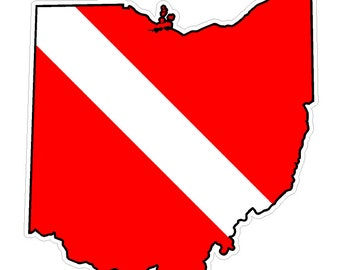 Ohio State (Y36) Diver Down Flag Vinyl Decal Sticker Car Laptop/Netbook