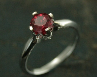 Ruby Ring~Ruby Cross Ring~Diamond Accented Ring~White Gold Ruby Ring~Lab Grown Ruby~Chatham Ruby~Greek Cross~July Birthstone