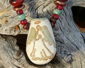 """Essential Oil Diffuser - """"Native Angel"""" - Aromatherapy necklace - Oil diffuser - Porcelain Pendant - Angel necklace - #D161"""