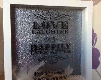 """Silhouette box frame- """"Love, laughter , happily ever after"""" ideal wedding gift"""