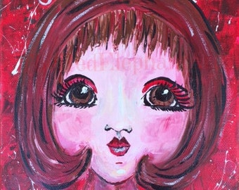 Chakra- Root Spirit, Mooladhara, red, acrylic painting, digital download, new age, girl, passion, symbolism, spiritual,original,wall hanging