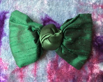 Emerald Green Silk and Satin Bow Barrette - Vintage 90s Hair Accessories