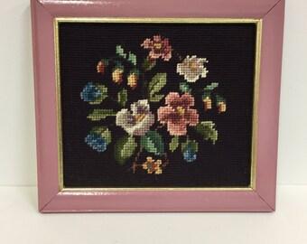 Vintage Floral Needlepoint Wall art/ Vintage Fiber Art/ Vintage Needlepoint/ Vintage Framed Art