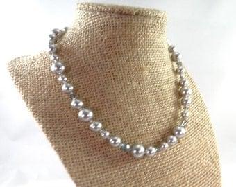 Silver Pearl Crystal Necklace, Vintage Silver Pearl Crystal Beaded Necklace