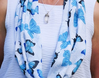 Chiffon scarf, printed scarf, infinity scarf, summer scarf, lightweight scarf, unique design, butterfly scarf, luxurious