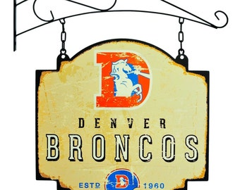 Denver Broncos Tavern Sign With Bracket