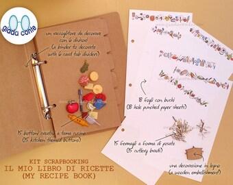 Diy scrapbooking Kit MY RECIPE BOOK-my book of recipes > make your own custom Cookbook!