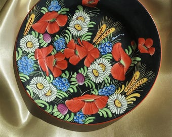 Vintage Czechoslovakian Decorative Pottery Plate, Vibrant colors - Hand Painted, 1970's, Signed on back