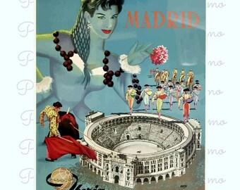 Madrid Travel Poster, Spain Poster, Retro Spain Print, Airline poster, Spain Wall Art, Vintage Travel Poster, Office Decor, Restaurant Art