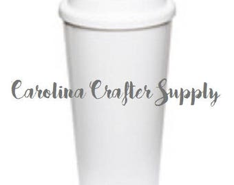 Set of 4 16 Oz Double Wall White Starbucks Inspired Tumbler Screw On Lid Starbucks Coffee Cup, BPA-Free Starbucks Style Coffee Tumbler