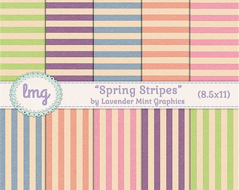 "Digital Journal Papers - ""Spring Stripes"" - Scrapbook Papers, Vintage, Shabby Chic, Pink, Blue, Green, Orange, Lavender, 8.5x11, CU"