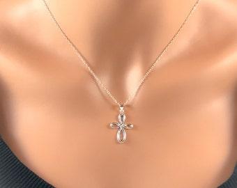 Sterling Cross Necklace Infinity Cross Necklace Sterling Silver Necklace Dainty Simple Silver Necklace Minimalist Necklace