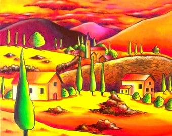 Modern painting landscape - painting landscape at sunset - Sabrina RIGGIO