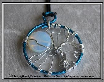 Handmade tree of life pendant. Moonstone moon tree of life pendant, Gemstone pendant. Opal or opalstone tree of life pendant