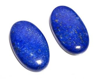 2 Pieces Lapis Lazuli Cabochons Lot Oval Shape, Natural Lapis Lazuli Gemstone Cabochon Loose Gemstones Cabs Smooth Stones