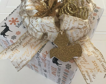 Christmas Gift Bow with Gift Tag Set Gold Gift Basket Bow Bows for Baskets and Gift Bags Christmas Present Ribbon Gift Tag Holiday Gift Wrap