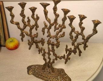 Vintage Brutalist Style Brass Menorah by Wainberg Made in Israel 1970s