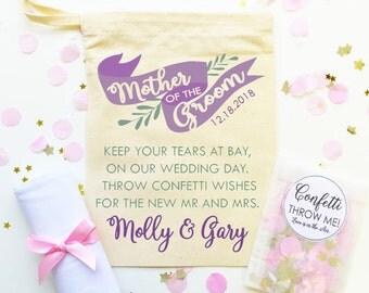 Grazie favorevoli per la madre dello sposo. Sacchetto regalo personalizzato cotone + fazzoletto + coriandoli. Regalo nozze favore.