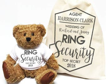 Wedding ring security teddy bear for you Ring Bearer. Wedding day thank you gift bear and matching bag.
