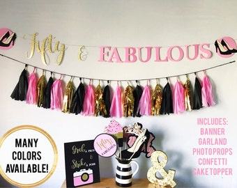 Pink, Black, and Gold Fifty & Fabulous Birthday Party Kit with Banner, Tassel Garland, Photo Booth Props, Confetti, and Glitter Cake Topper