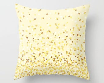 Throw Pillow - Floating Confetti Dots - Yellow White Gold - Square Cover 16x16 18x18 20x20 24x24 - Insert Optional