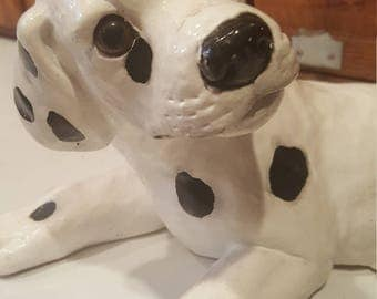 Vintage Dalmatian Statue Pup Black and White Mod Atomic Pad Kitsch Dog Puppy Ceramic Figurine Dog Lover, Gift for her, Yard Art, Sculpture