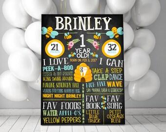 Bumble Bee Birthday Party - Birthday CHalkboard Chalkboad - ANY AGE - Custom Colors