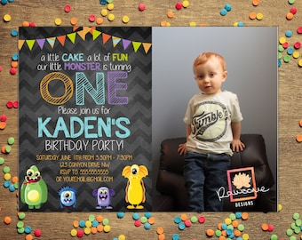 MONSTER THEMED  Birthday Invitation {any age}  Colors can be Customized!
