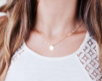 Small Disc Necklace, Gold Disc Necklace, Personalized Tag Necklace, Minimal Gold Necklace, Tiny Disc Necklace, Initial Tags Necklace Choker