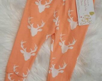 Baby/infant leggings/pants - Peach deers