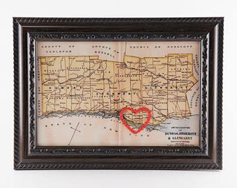 Cornwall Hand Embroidered Heart Map, Cornwall Map Art, Paper, Cotton Anniversary, Wedding, Graduation Gift, Travel Map, Love, Engagement