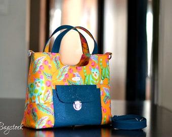 Ready to ship, Tula pink Tabby road, Cork handbag, Cork bag, Disco Kitty, Handmade handbags, Spring gift women, Vegan purse
