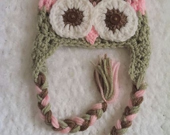 crochet owl hat, baby girl hat, girl hat, photo prop, brown green and pink set