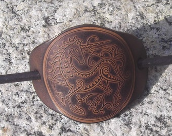 """Leather hair barrette , unicorn design  , colour""""oak"""" (16 colours available)"""