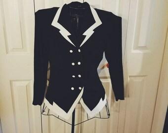vtg black & white button-up women's button-up button down blazer jacket