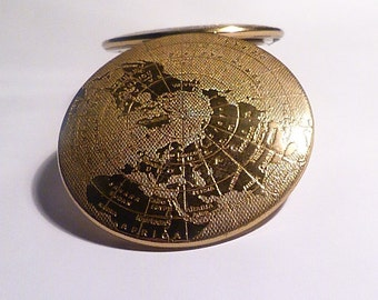 Gifts for her rare MELISSA map of the world powder compact compact mirrrors 1950s novelty bridesmaids gifts