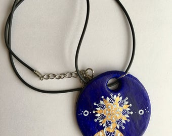 Handmade Ultramarine blue circle pattern detail necklace