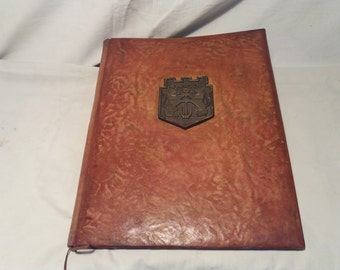 Vintage 1980's Handmade Brown Leather Portfolio - NEW