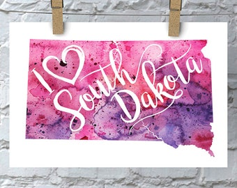 I Heart South Dakota Map Art Print, I Love South Dakota Watercolor Home Decor Map Painting, SD Giclee State Art, Housewarming or Moving Gift