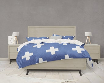 Indigo swiss cross pattern duvet cover