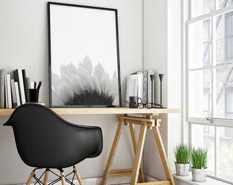 Black and white photography, poster, sunflower print, wall art prints, printable, botanical art prints, modern wall art, bedroom decor