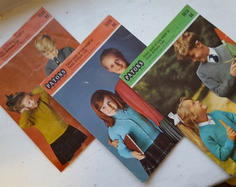 REDUCED IN PRICE -Vintage Patons Knitting Patterns / 1960's / 9614/9395/9500