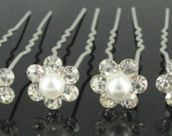 10 Rhinestones Crystal Diamante Flower Bridal Wedding Prom Hair Pins Clips 1065