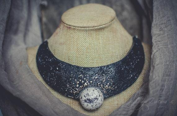 Statement necklace Bib necklace asymmetric necklace black white necklace large necklace polymer clay necklace  monochrome necklace massive